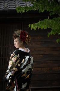 和装 前撮り 日本庭園 色打掛