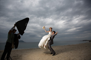 スーパーカメラマン大川さん ファシーノ 洋装前撮り ウェディングドレス 海ロケ